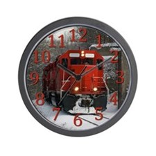 Red Train Locamotive Wall Clock