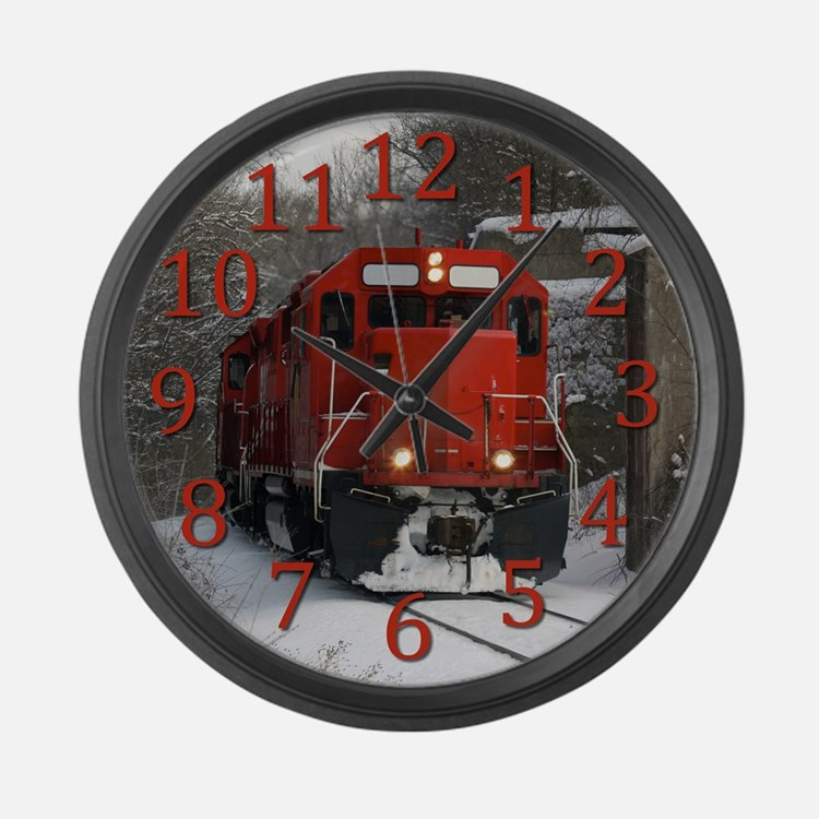 Red Train Locamotive Large Wall Clock
