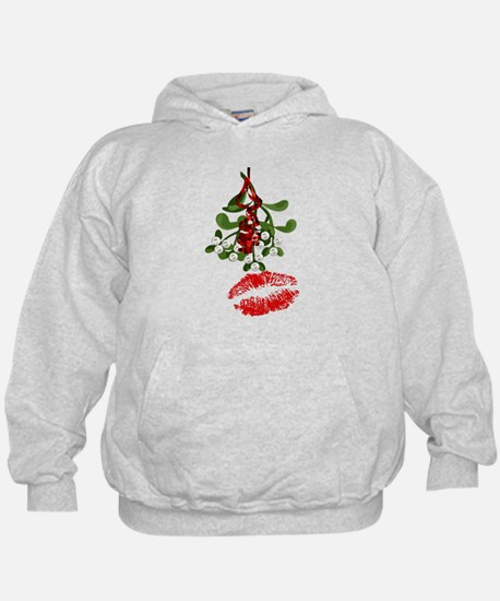 Mistletoe and Red Lipstick Kiss Print Hoodie
