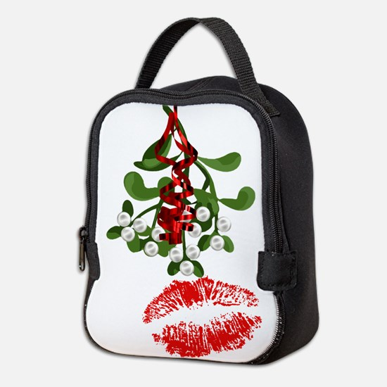 Mistletoe and Red Lipstick Kiss Print Neoprene Lun