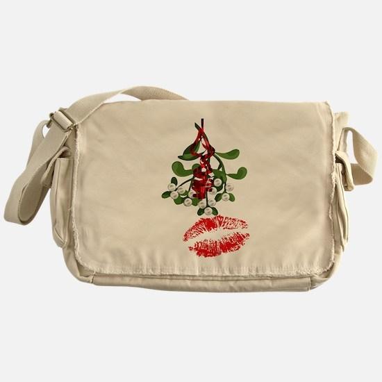 Mistletoe and Red Lipstick Kiss Print Messenger Ba