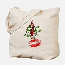 Mistletoe and Red Lipstick Kiss Print Tote Bag