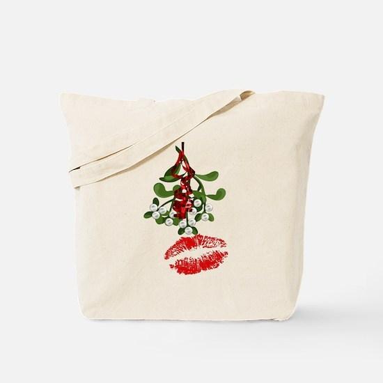 Mistletoe and Red Lipstick Kiss Print Tote Bag