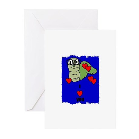 I LOVE YOU BOOKWORM GREETING CARDS (Pk of 10)