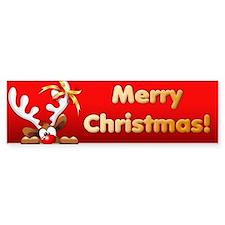 Funny Christmas Reindeer Cartoon Bumper Bumper Sticker