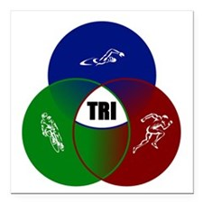 "Tri circles Square Car Magnet 3"" x 3"""