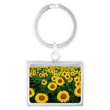 Sunflowers in Bloom Landscape Keychain