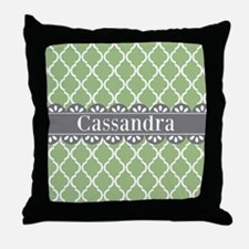 Sage Moroccan Lattice Grey Lace Throw Pillow