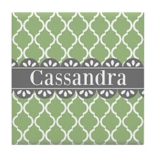 Sage Moroccan Lattice Grey Lace Tile Coaster