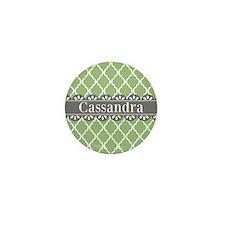 Sage Moroccan Lattice Grey Lace Mini Button (10 pa