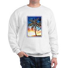 Xmas Lights Palm Tree Sunset Stamp Sweatshirt