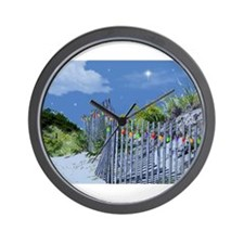 Beach Fence and Dune for Christmas Wall Clock