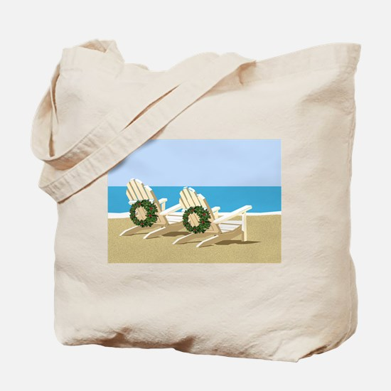 Beach Chairs with Wreaths Tote Bag