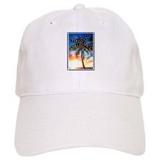 Xmas Lights Palm Tree Sunset Stamp Baseball Baseball Cap