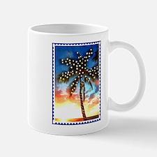Xmas Lights Palm Tree Sunset Stamp Mugs