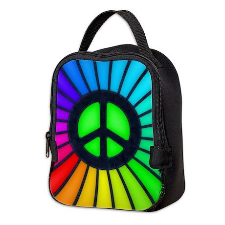 Rainbow Peace Sign Neoprene Lunch Bag