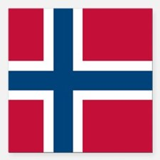 "Norwegian Flag Square Car Magnet 3"" x 3"""