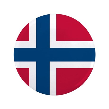 "Norwegian Flag 3.5"" Button"