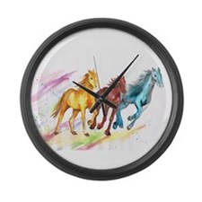 Watercolor Horses Large Wall Clock