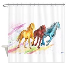 Watercolor Horses Shower Curtain