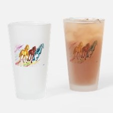 Watercolor Horses Drinking Glass