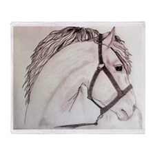 Horse sketch Throw Blanket