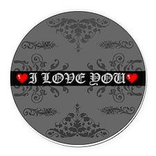 I Love You Round Car Magnet