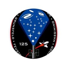 """NASA STS-125 Mission Patch. 3.5"""" Button"""