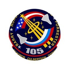 """NASA STS-105 Mission Patch. 3.5"""" Button"""
