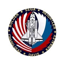 """NASA STS-60 Mission Patch 3.5"""" Button"""