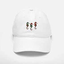 Three Metallic Xmas Seahorses Baseball Baseball Baseball Cap