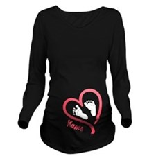 Baby Feet Pink Personalized Long Sleeve Maternity