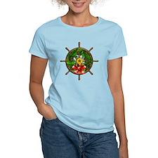Nautical Christmas Ships Wheel T-Shirt