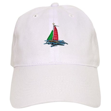 Red and Green Xmas Sailboat Baseball Cap
