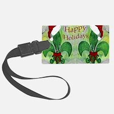 Santa Christmas Fleur de lis Luggage Tag
