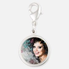 Unique Romantic Woman Silver Round Charm
