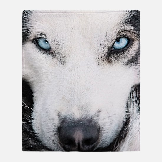Blue Eyed Husky Throw Blanket