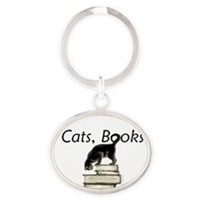 3-cat_life_sweet_large Oval Keychain