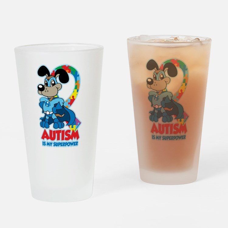 Autism Is My Super Power Drinking Glass