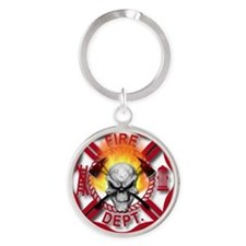 Maltese Cross with Skull and Flames Round Keychain