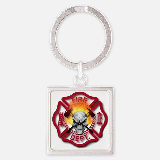 Maltese Cross with Skull and Flame Square Keychain