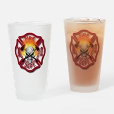 Maltese Cross with Skull and Flames Drinking Glass