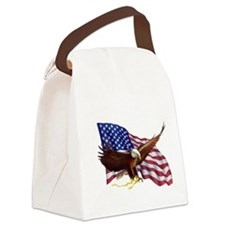 American Flag And Bald Eagle - Pa Canvas Lunch Bag