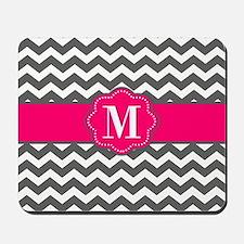 Gray Pink Chevron Monogram Mousepad