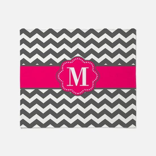Gray Pink Chevron Monogram Throw Blanket