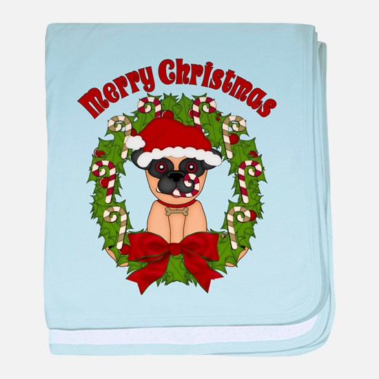 Pug and Candy Cane Wreath baby blanket