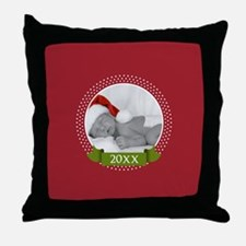 Photo Frame with Year Red Throw Pillow