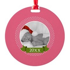Photo Frame with Year Pink Ornament