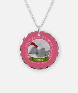Photo Frame with Year Pink Necklace