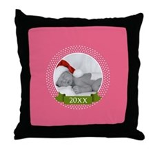 Photo Frame with Year Pink Throw Pillow